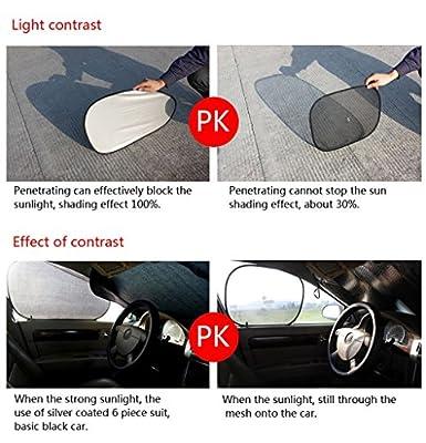 MSpark 6 Pcs Reflective Car Window Sun Shade Foldable Windshield Full Shield Visor Block Cover