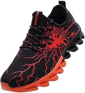 BRONAX Zapatos para Correr en Montaña y Asfalto Aire Libre y Deportes Zapatillas de Running Padel para Hombre Negro Naranja 47