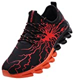 BRONAX Boys Running Shoes Slip on Casual Sneakers Trail Walking Jogging Athletic Sport Gym Workout Fitness Tennis Jog Shoes for Young Mens Orange Size 6