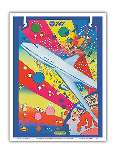 Pan American World Airways - Boeing 747 - Pop Art - Vintage Airline Travel Poster by Peter Max c.1969 - Master Art Print - 9in x 12in (Peter Max Painting)