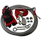 Freedom Aerial Dog Runs with Polypropylene Lead Line and Medium Comfort Safety Harness (Firehouse Red, 75 FT)