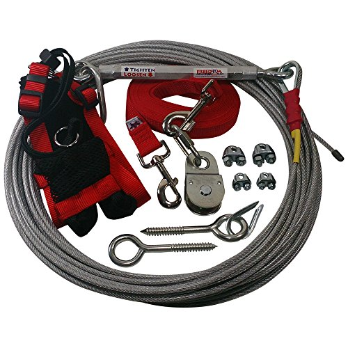 Freedom Aerial Dog Runs with Polypropylene Lead Line and Medium Comfort Safety Harness (Firehouse Red, 75 FT) ()