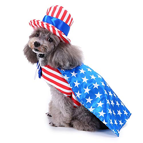 m Dog Costume 4th of July Patriotic Pet Shirt with Cape and Hat ()