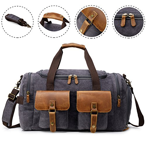 Kemy's Canvas Duffle Bag Oversized Overnight Bags for Men Weekend Travel Duffel Weekender Bags Canvas Leather Gym Traveling Airplanes Carry On Luggage Shoes Compartment Thanksgiving Christmas Gift