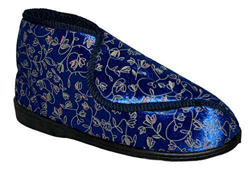 BOOT SLIPPER STRAP WASHABLE DIABETIC VELCRO Navy WIDE FULLY ORTHOPAEDIC FIT LADIES wqza8A