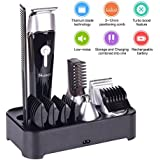 Beard Trimmer Kit with Stand Cordless Rechargeable Waterproof 5 in 1 Multifunctional Men's Grooming Set with Electric Hair Clipper, Dual Shaver, Precision Trimmer, Nose Ear Trimmer, Body Trimmer