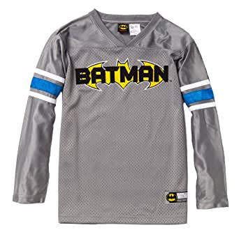 "Batman Boys Long Sleeve Football Inspired V-Neck Jersey w/ embroidered ""Batman"" in Team Style in Gray Size: 14/16"
