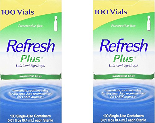 Refresh Plus Lubricant Eye Drops Long Lasting Relief Plus Protection for Mild to Moderate Dry Eye (2 Pack)