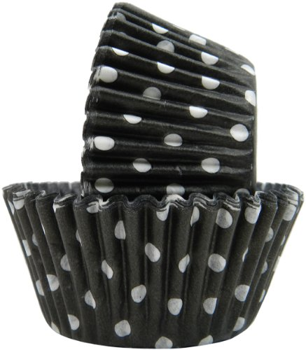 Regency Wraps Greaseproof Baking Cups, Black Polka Dots, 40 Count, (Polka Dot Cupcake Liners)