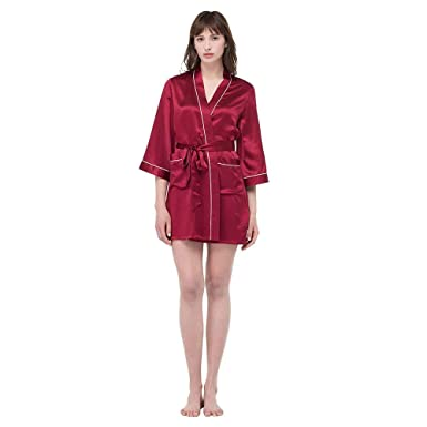 LilySilk Mulberry Silk Robe for Women Classic Cross Collar 22 Momme with  Contrast Trimmed Claret XS 0a0ff9c86
