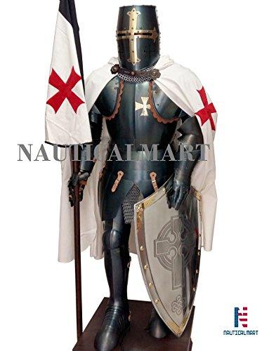 halloween reenactment medieval crusader full body suit of armor