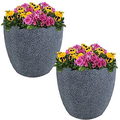 Sunnydaze Estate Fiber Clay Planter Flower Pot, Durable Indoor/Outdoor 12-Inch Set of 2, Gray Sandstone : Garden & Outdoor
