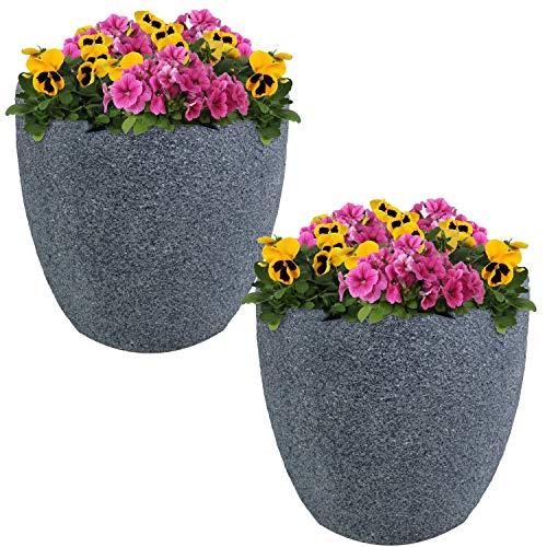 Sunnydaze Estate Fiber Clay Planter Flower Pot, Durable Indoor/Outdoor 12-Inch Set of 2, Gray Sandstone