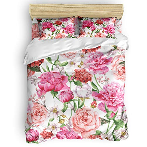 (Aiesther Bedding Set Duvet Cover 4 Piece- Blooming Pink Peonies and Roses Soft Twill Plush Quilt Cover, Include 1 Duvet Cover 1 Flat Sheet and 2 Pillow, for Adults Children Boys Girls, Full)