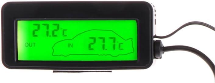 siwetg - Mini termómetro Digital para Coche, Pantalla LCD, para Interior y Exterior, 12 V, 1,5 m de Cable