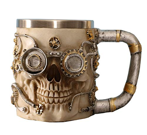 Otartu 15oz(450ml) Beer Coffee Gothic Skeleton Skull Mug Skull Tankard S.S. Liner