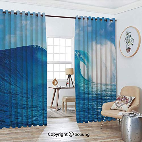 - Thermal Insulated Blackout Patio Door Drapery,Cloudy Summer Sky Wavy Ocean adventure Surfing Vacation Tourist Attraction Picture Print Room Divider Curtains,2 Panel Set,100
