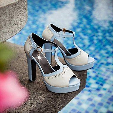 LvYuan Tacón Robusto-Confort Innovador Zapatos del club-Sandalias-Exterior Vestido Informal-Materiales Personalizados Semicuero-Azul Rosa Beige beige
