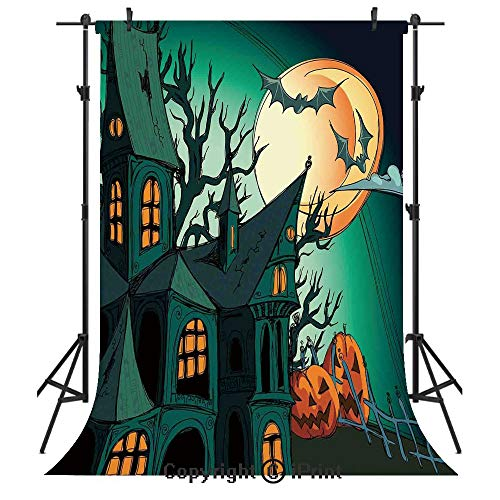 Halloween Decorations Photography Backdrops,Haunted Medieval Cartoon Bats in Twilight Gothic Fiction Spooky Art,Birthday Party Seamless Photo Studio Booth Background Banner 5x7ft,Orange Teal -