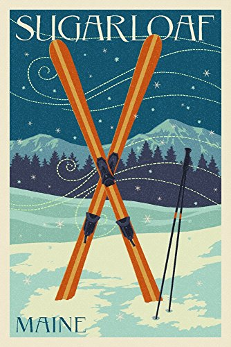 - Sugarloaf, Maine - Crossed Skis - Letterpress (16x24 Giclee Gallery Print, Wall Decor Travel Poster)