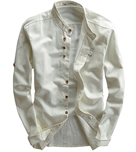 utcoco Men's Vintage Linen Stand Collar Button up Shirt Long Sleeve (Large, White)