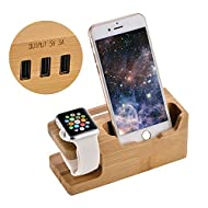 TKSTAR Station de chargement en bambou 3 ports, support Apple Watch et support pour téléphone portable, station de recharge 3 sur 1 pour iwatch pour iPhone 7 / 7plus / 6s / 6splus / 6 / 6plus / 5s / 5 /iPad Mini/iPod et tout le téléphone Andriod