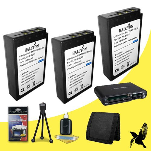 Three Halcyon 1800 mAH Lithium Ion Replacement BLS-1 Batteries + Memory Card Wallet + Multi Card USB Reader + Deluxe Starter Kit for Olympus Pen Digital E-PM1, E-P1, E-P2, E-P3, E-PL1, E-PL3 SLR Evolt-Series E-40, E-410, E-420, E-450, E-600, E-620 Digital Cameras and Olympus BLS-1