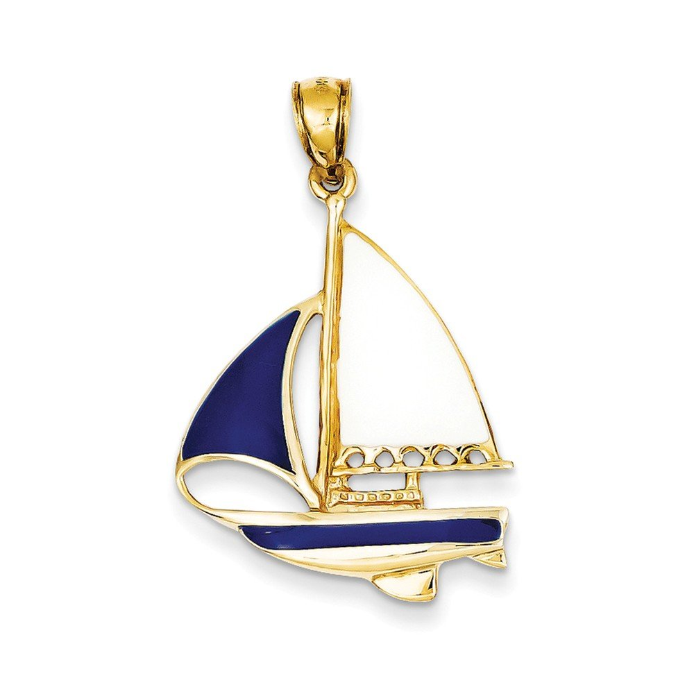 14K Yellow Gold 2-D Blue and White Enameled Sailboat Charm Pendant