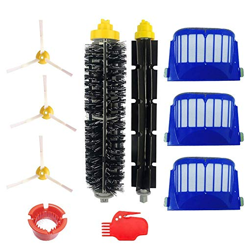 SogYupk Accessory for Irobot Roomba 600 595 610 620 630 645 650 655 660 690 Series Vacuum Cleaner Replacement Part Kit - Includes 3 Pack Filter, Side Brush, and 1 Pack Bristle Brush and Flexible Beat