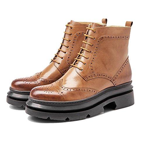 35 zapatos talón tobillo bloque Chunky plano arnés hueca Casual con forro de cordones BROWN comodidad piel caliente 37 BROWN Ladies botas de ZdxvwHBBq