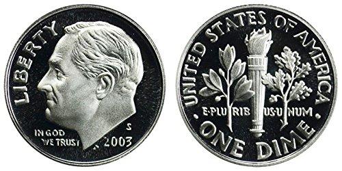 2003 S Roosevelt Proof Silver Dime 10c DCAM US Mint ()