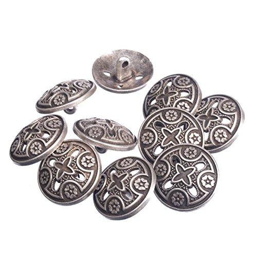 Zinc Diecasted Metal Shank Button - Medieval Templar Cross Design - 30 Line - Antique Silver
