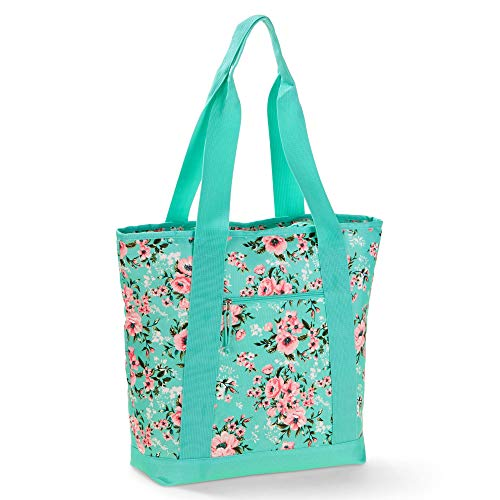 No Boundaries Mint Floral Insulated Cooler Tote (Aqua Mint Floral, One Size)