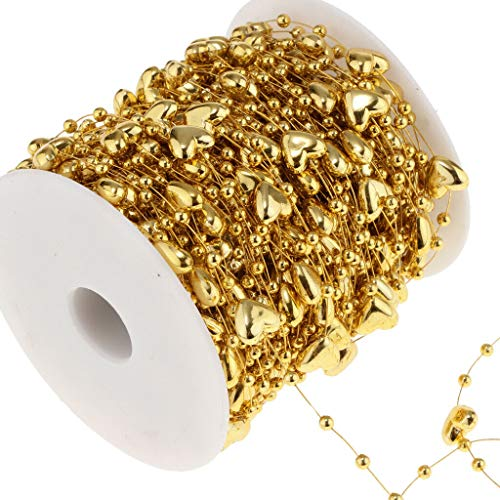 30m Roll of Heart Beads Strings Garland Christmas Craft Wedding Decoration |Color - Gold|