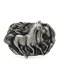 Western Double Mighty Racing Horses Belt Buckle Wild Running Horse Cowboy Waist