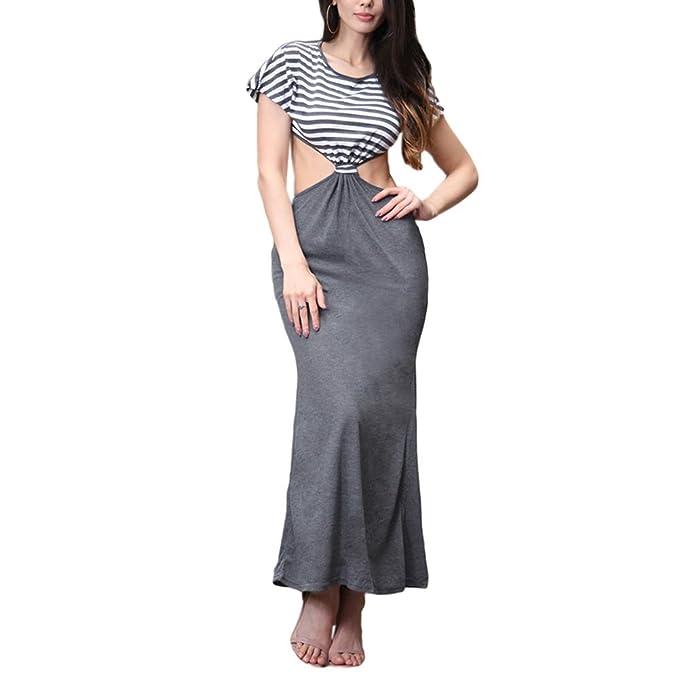 Hzjundasi Vestidos verano Raya Cuello redondo Vestidos Mujer Paquete Hip Slim Desnudo Cintura Puntadas Vestido de noche: Amazon.es: Ropa y accesorios