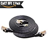 Cat 7 Shielded Ethernet Cable 8ft 2pack ( Highest Speed Cable ) Cat7 Black Flat Internet Network Cables, for Modem, Router, Lan, Computer