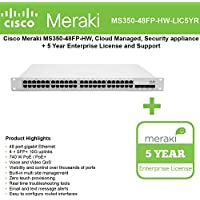 Cisco Meraki Cloud Managed Switch MS350-48FP-HW includes 5 Year Enterprise Lic