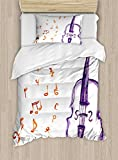 Ambesonne Music Duvet Cover Set Twin Size, Musical Notes Instrument Violin Cello in Watercolors Style White Backdrop Print, Decorative 2 Piece Bedding Set with 1 Pillow Sham, Purple and Red