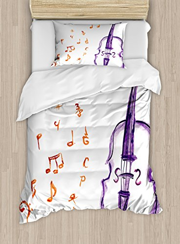 Ambesonne Music Duvet Cover Set Twin Size, Musical Notes Instrument Violin Cello in Watercolors Style White Backdrop Print, Decorative 2 Piece Bedding Set with 1 Pillow Sham, Purple and Red by Ambesonne