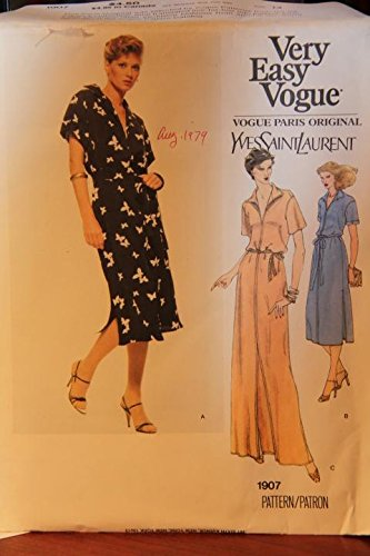 (Vintage Very Easy Vogue Pattern 1907 Size 14 - Misses' Dress And Belt - Yves Saint Laurent (uncut pattern))