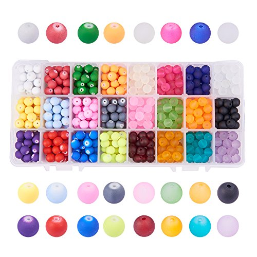 PH PandaHall 1 Box (about 720 pcs) 24 Color 8mm Round Frosted/Rubberized Style Transparent Glass Beads Assortment Lot for Jewelry Making