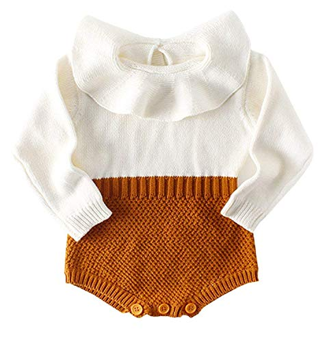 KiKibaby Baby Girls Romper Knitted Ruffle Long Sleeve Jumpsuit Kids Romper Autumn Winter Casual Clothing