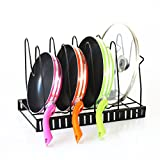 Kitchen Pot and Pan Organizer Rack Adjustable Lid Rack Cookware Holder Heavy Duty Cabinet Pantry Kitchenware Cupboard Bakeware Plate Holder (black)