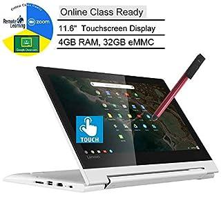 "Lenovo Chromebook C330 2-in-1 11.6"" Convertible Touchscreen Laptop Computer, Quad-Core MediaTek MT8173C, 4GB RAM, 32GB eMMC, Online Class Ready, White, Chrome OS, BROAGE 3-in-1 Stylus 8GB Flash Drive"