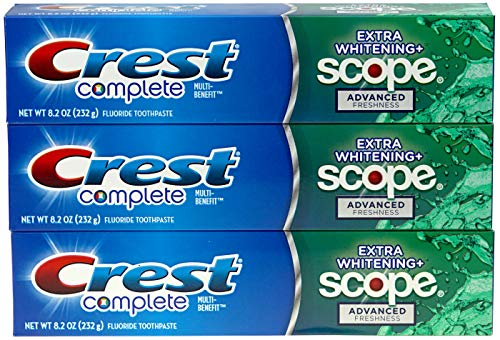 Crest Complete Multi-Benefit Fluoride Toothpaste - Extra Whitening and Scope Advanced Freshness - 8.2 oz each, 3 count