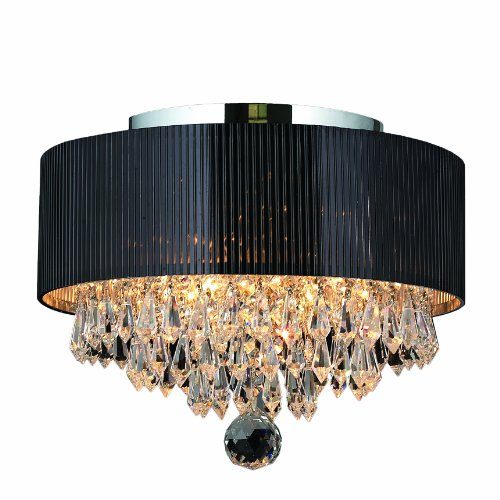 Worldwide Lighting Gatsby Collection 3 Light Chrome Finish Crystal Flush Mount with Black Acrylic Shade 12