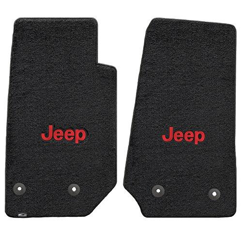 Jeep Wrangler 2 Piece Lloyd Mats Velourtex Black Carpet Floor Mats w/Red Jeep Logo (2014-On)