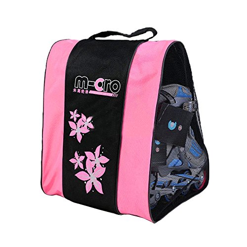 Ice Skate Backpack - Kangkang@ Three Layers Bag Can Carry Gear Cap/special/skate Shoes Full Set Triangle Bales/roller Blading/roller Dedicated Skating Bag (Pink)