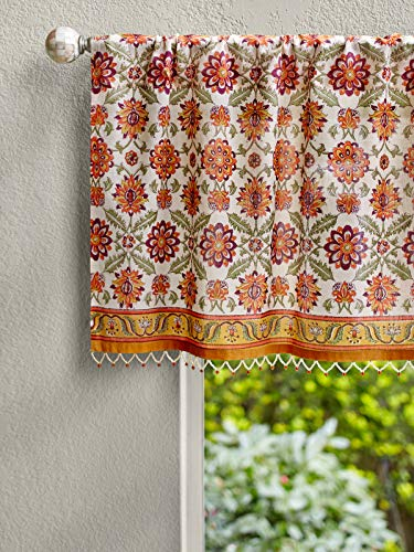 - Saffron Marigold Orange Blossom Persian Window Valance 46 x 17 | Hand Printed Top Curtains | Sheer Orange Yellow Beaded Bohemian Valances for Windows
